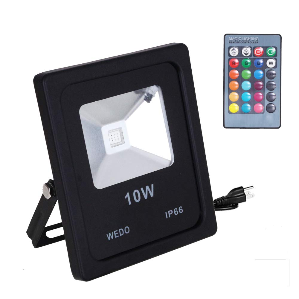 WEDO 10W RGB Led Flood Light IP66 Waterproof 16 Colors Change 4 Modes with IR Remote Control Wall Wash Light Security Light With US Plug for Outdoor Garden Landscape Yard Car Park