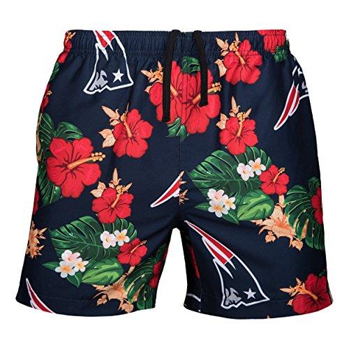 NFL New England Patriots Mens Team Logo Floral Hawaiin Swim Suit Trunksteam Logo Floral Hawaiin Swim Suit Trunks, Team Color, Medium (30