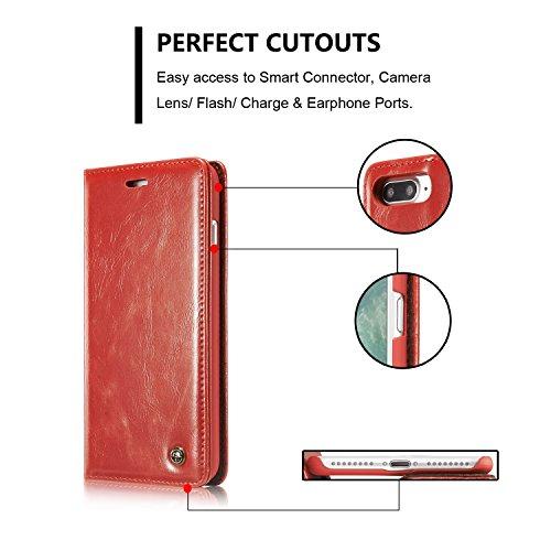 SRY-Mobile Phone Cases & Covers Cubierta protectora de la caja del tirón del diseño magnético de la cartera del cuero de la PU con la ranura para tarjeta / soporte para el iPhone 7 más / iPhone 8 más  Red