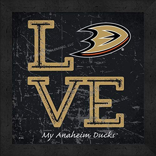 Prints Charming Love My Team Square Color Anaheim Ducks Framed Posters 13x13 Inches