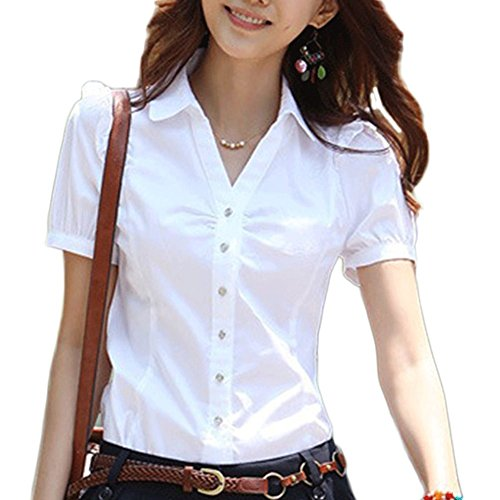 (WLLW Womens Short Sleeve Fashion Shirt Formal Collared Fitted Blouse Tops,US L Asian)