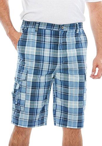 Elastic Waist Plaid Shorts - KingSize Men's Big & Tall Canyon Cargo Shorts, Harbor Blue Plaid Big-52