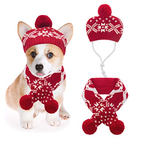 Mihachi Christmas Dog Costumes Hat Scarf Set Knit Snowflake Reindeer Print 2Pcs Winter Warm Clothes for Small Dogs Cats Red White Large
