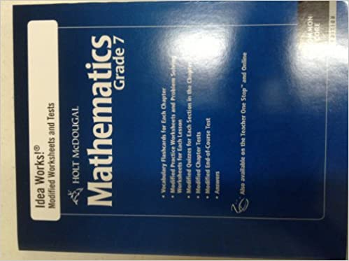 Printables Holt Mcdougal Mathematics Worksheets amazon com holt mcdougal mathematics i d e a works modified worksheets and tests with answers grade 7 1st edition