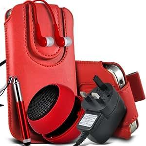 Nokia Lumia 822 Protective PU Leather Slip cuerda del tirón magnético En la bolsa del lanzamiento rápido con Mini capacitiva lápiz óptico retráctil, 3.5mm en auriculares del oído, Mini recargable altavoz de la cápsula, Micro USB CE aprobado 3 Pin Cargador (rojo)