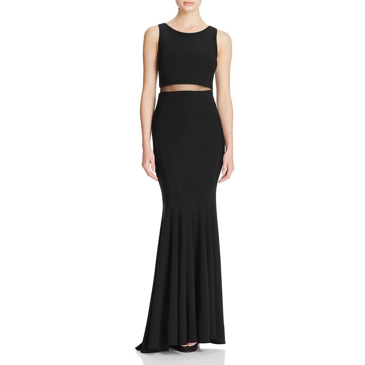 fa4357e8 Avery G Womens Illusion Mermaid Evening Dress Black 6 at Amazon Women's  Clothing store: