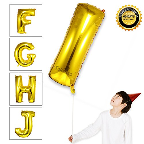 Homemade Disco Halloween Costumes For Women (Takefubs 40 Inch Giant Jumbo Helium Foil Mylar Balloons Gold Alphabet Aluminum Hang Number Balloons Marquee Letters For Birthday Party Decorations,Glossy Gold,Letter I)
