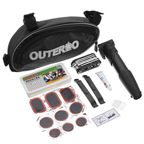 OUTERDO 14 in 1 Fahrrad Werkzeug Fahrradwerkzeug Reparaturset Reifen Flickzeug Flickset Schwarz