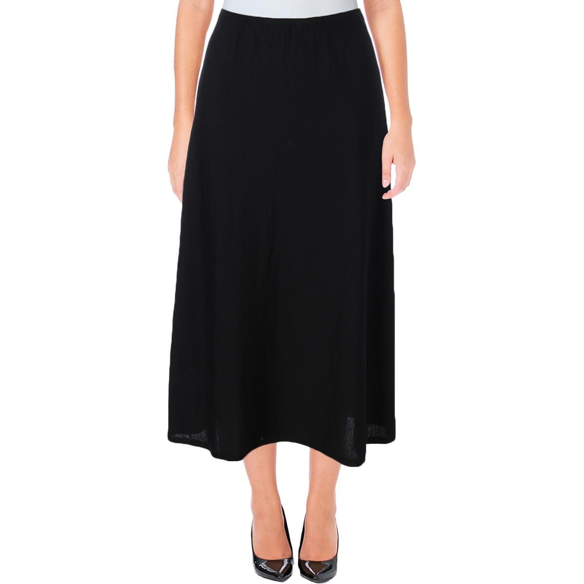 Eileen Fisher Womens Silk Layered A-Line Skirt Black L