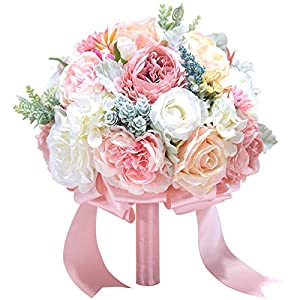 Luvier Rose Gold Artificial Toss Flowers Wedding Bouquets Handmade Rose Peony Plants Bridal Bouquet with Ribbons 59