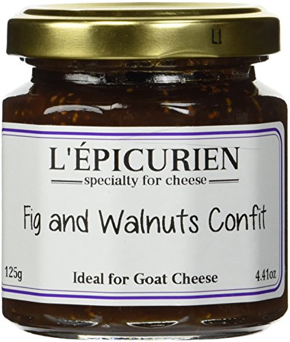 Fig and walnut French Imported confit for cheeses 4.4 oz jar by l'Epicurien France, One