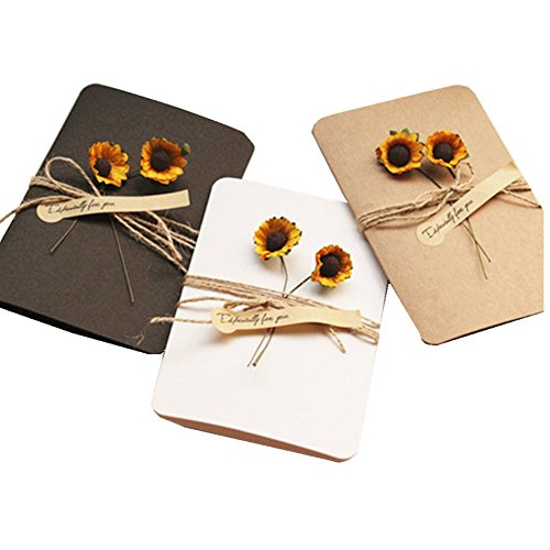 SUSOKI Vintage Kraft Handmade Dried Flowers Greeting Card Sunflower Thank You Cards Birthday Party Invitation Card Wish Note Gift Card Set with Hemp Rope for All Occasion, Pack of (Handmade Note Card Set)