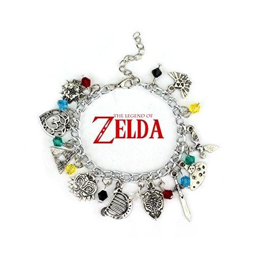 Blue Heron Legend of Zelda 10 Logo Charms Lobster Clasp Bracelet w/Gift Box