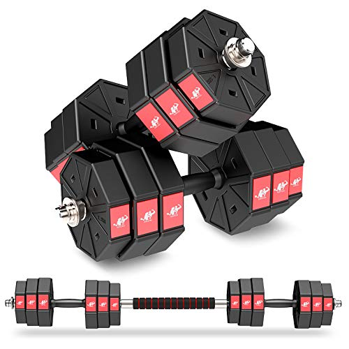 LEADNOVO Adjustable Weights Dumbbells Set, 44Lbs 66Lbs 88Lbs 3 in 1 Adjustable Weights Dumbbells Barbell Set, Home…