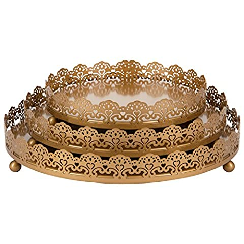Sophia 3-Piece Gold Decorative Tray Set, Round Metal Ornate Accent Vanity Food Display Serving Platter Holder (Round Tray For Ottoman)