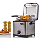 Ovente Deep Fryer with Removable Basket, 800-Watts, 1.5L, Compact Size, Non-Stick, LED Indicator Light, 3 Heat Settings, Cool-Touch Handle, (FDM26151BR), Nickel Brushed