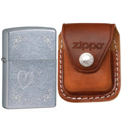 Zippo 24016 Classic Street Chrome Heart to Heart Windproof Pocket Lighter with Zippo Brown Leather Clip Pouch