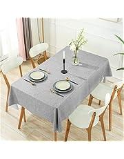 DARUITE PVC bordsduk vattentät avtorkbar, grå grovt linneutseende plast bordsduk rektangulär 137 x 240 cm för utomhus, matsal, fest, trädgård