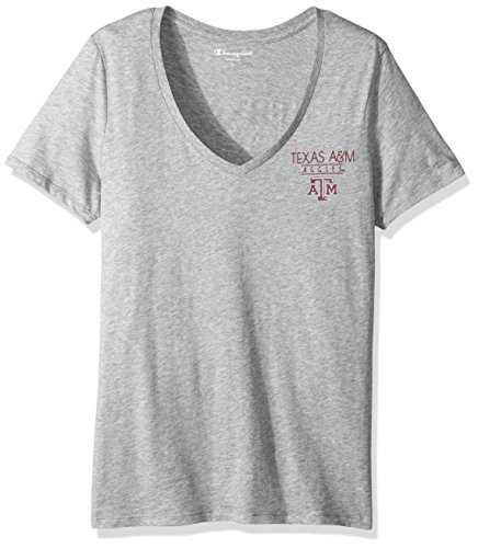 Champion NCAA Texas A&M Aggies Adult Women NCAA Women's University V-Neck Front/Back,Large,Oxford Heather ()