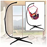 Black Hammock C Stand Frame Steel Construction For Hanging Air Rope Swing Chair