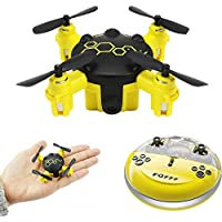 Littleice Mini Drone FQ777 FQ04 Beetle Mini Pocket Drone with Camera Headless Mode RC Reomote Control Quadcopter RTF (Yellow)
