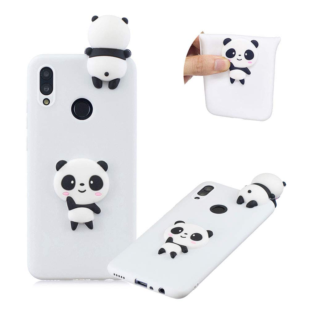 TPU Case for Huawei P Smart 2019/Huawei Honor 10 Lite,Moiky Funny 3D White Panda Design Ultra Thin Soft Silicone Resistant Back Cover Phone Case Unique Style Protect Case