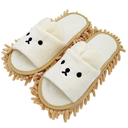 Selric [Bear Image] Super Chenille Microfiber Washable Mop Slippers Shoes for Women, Floor Dust Dirt Hair Cleaner, Multi-sizes & Multi-Colors Available 9 7/9