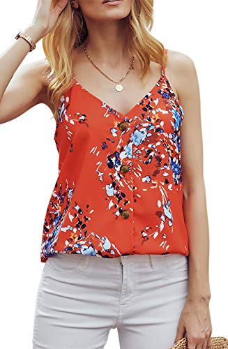 (noabat Button Down Shirts Spaghetti Strap Camisole Cami Tank Tops for Women Red X-Large)