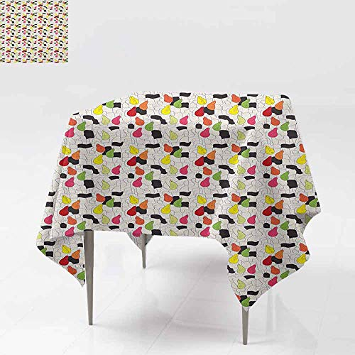 Decorative Textured Fabric Tablecloth Colorful Pears in Doodle Style on Abstract Angled Lines Background Fruit Pattern Washable Tablecloth W50 xL50 Multicolor
