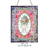 HF-175 Vintage Tiffany Style Stained Glass Church Art Flowers Rectangle Window Hanging Glass Panel Suncatcher, 26.5''x20''