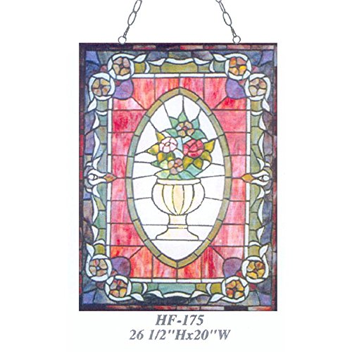 HF-175 Vintage Tiffany Style Stained Glass Church Art Flowers Rectangle Window Hanging Glass Panel Suncatcher, 26.5''x20'' by Gweat Window Hanging