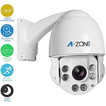 A-ZONE 1080P AHD PTZ Dome Camera 10x Optical Zoom, 2.0MP Waterproof Night