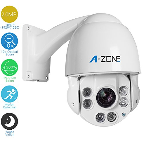 A-ZONE AHD 1080P PTZ Waterproof Night Vision,10x Optical Zoom Indoor/Outdoor CCTV Surveillance Camera Dome Security Camera,Autofocus  by A-ZONE