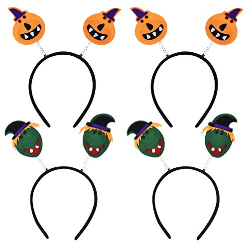 Frienda 4 Pack Halloween Headband Halloween Boppers Hair Hoop Pumpkin Witch Hair Hoop Headpiece Hair Accessories Costume Halloween Party ()