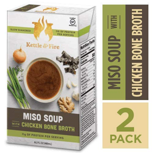 Miso Soup with Chicken Bone Broth by Kettle and Fire, Pack of 2, Paleo Diet, Gluten Free Collagen Soup on the Go, 11g of protein, 16.2 fl oz