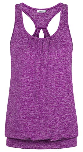 (Helloacc Womens Exercise Tank Tops,Sleeveless Running Tunic Tank Trendy Trapeze Seamless Skinny Racerback Pleated Tank Tops for Women Teen Girls Solid Basic H Back Cutout Blouson Banded Hem Magenta M)