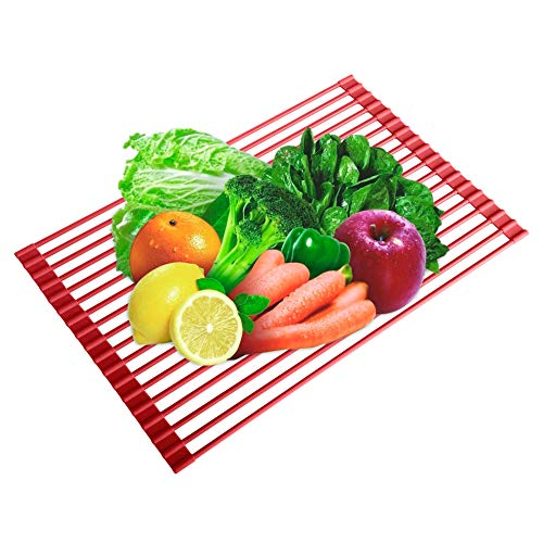 - Over-the-Sink Dish Drying Rack, WEBI Roll-up Flat Wire Dish Drainer, Kitchen Utensil Draining Rack Strainer, for Fruit Vegetable Meat Cup Bowl Plate Pot Pan, (Silicone & Stainless Steel, Red)