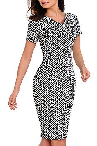VELJIE Women Vintage Wear to Work Knot Business Party Pencil Dress
