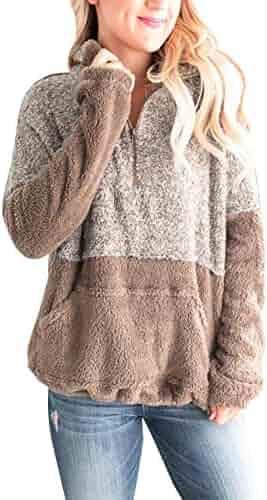 91328f3cc308 MEROKEETY Women's Long Sleeve Contrast Color Zipper Sherpa Pile Pullover  Tops Fleece with Pocket