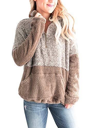 MEROKEETY Women's Long Sleeve Contrast Color Zipper Sherpa Pile Pullover Tops Fleece...