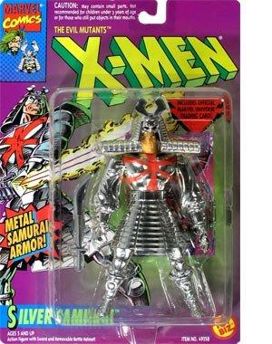 Silver Samurai Action Figure - 1994 - X-Men Evil Mutants Series - w/ Sword & Removable Battle Helmet - Trading Card - Limited Edition - Mint - (Silver Samurai Marvel)