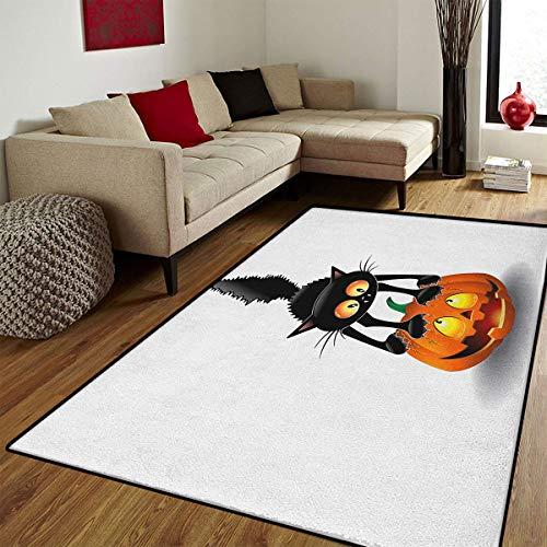 Halloween,Door Mat Outside,Black Cat on Pumpkin Drawing Spooky Cartoon Characters Halloween Humor Art,Door Mats for Inside Non Slip Backing,Orange Black,6.6x8 ft ()
