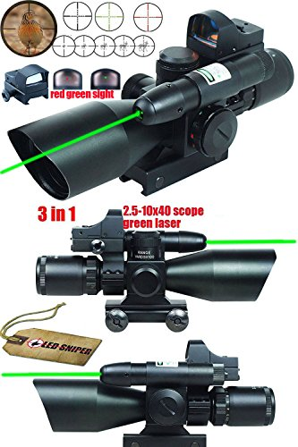 Read About Ledsniper® 3 in 1 Combo 2.5-10x40 Tactical Rifle Scope w/ green Laser & Mini Reflex 3 MO...