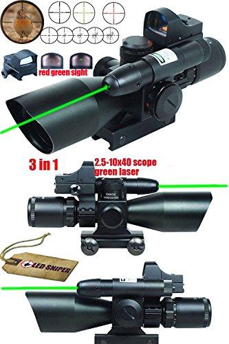 Ledsniper¨ 3 in 1 Combo 2.5-10x40 Tactical Rifle Scope w/ green Laser & Mini Reflex 3 MOA Red&green Dot Sight