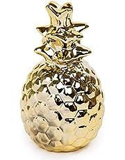 تصميم Truu، ذهبي لطيف على شكل أناناس من السيراميك ، 8.89 × 16.51 سم