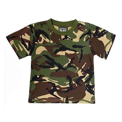 KAS Kids Army Woodland Camouflage T-Shirt Ages 3-13 Years 100% Cotton (Age (Cotton Woodland Army Camo T-shirt)