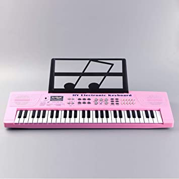 JUFENG 54 Teclas Teclado Electrónico Piano Música Juguete con Micrófono Electone Niños Enchufe De La UE,Pink: Amazon.es: Hogar