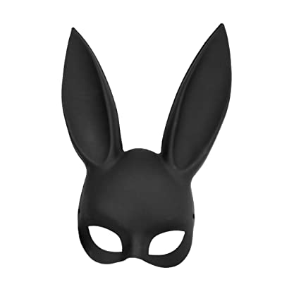 Adult Deluxe Sexy Bunny Half Mask Black, Black, Size One Size Fits Most   Walking