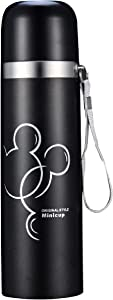 LSXX Thermos Vacuum Insulated 17 Ounce Compact Stainless Steel Beverage Bottle (500 ml, Black)