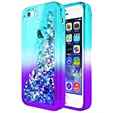 iPhone 5C Case w/[Screen Protector HD Clear], NageBee Glitter Liquid Quicksand Waterfall Floating Flowing Sparkle Shiny Bling Diamond Girls Cute Case for iPhone 5C -Aqua/Purple